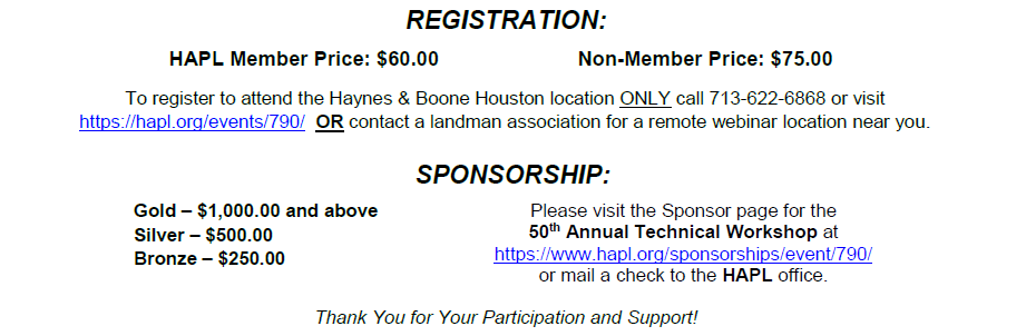 Event - HAPL 50th Annual Technical Workshop