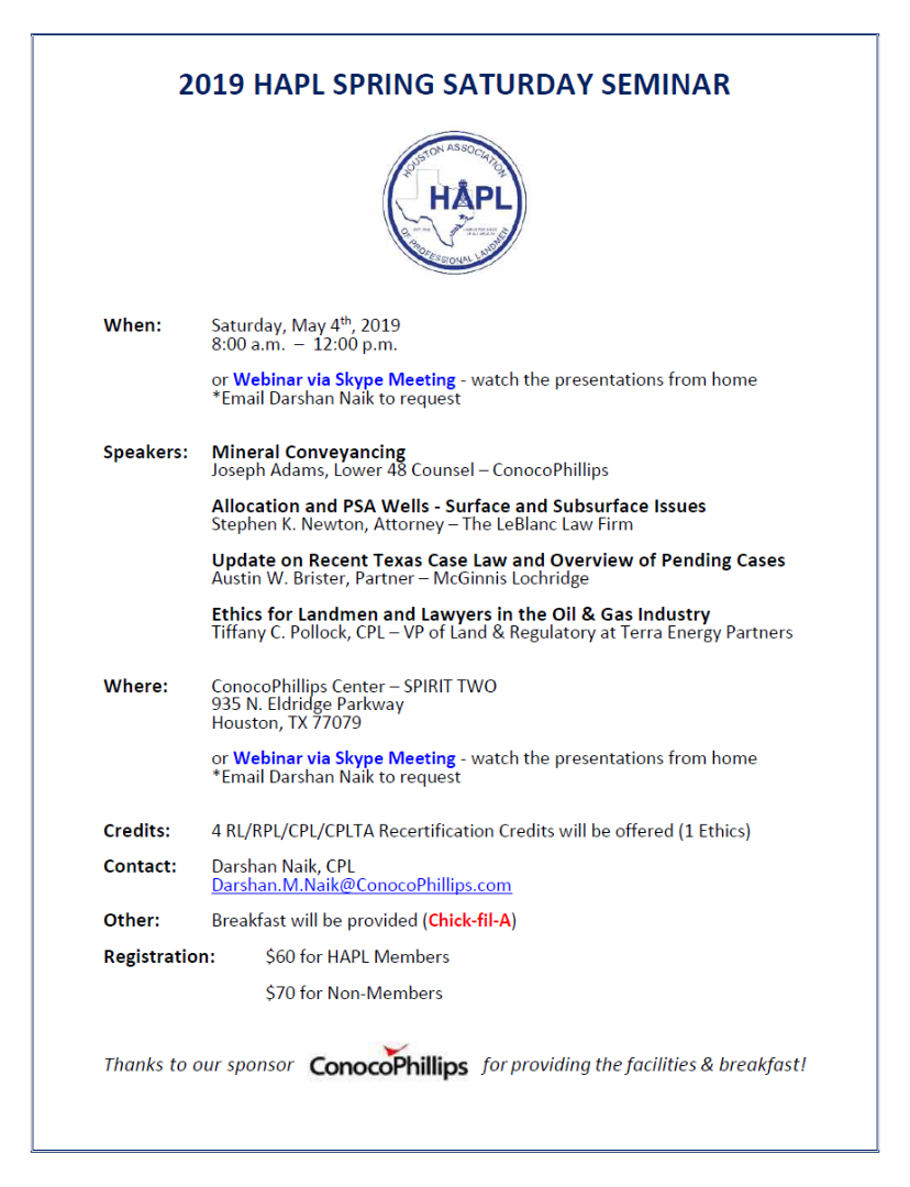 Event - HAPL Spring Saturday Seminar